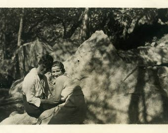"Vintage Photo ""Forest Best Friends"" Snapshot Antique Photo Old Black & White Photograph Found Paper Ephemera Vernacular - 138"
