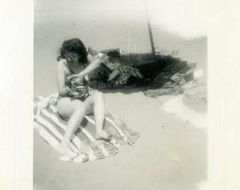 "Vintage Photo ""Suntan Lotion Sara"" Beach Swimsuit Snapshot Antique Photo Old Black & White Photograph Found Paper Ephemera Vernacular - 138"