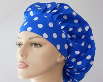 Scrub Hats Bouffant Surgical Scrub Hat - Blue with White Polka Dot  Medical Scrub Hat