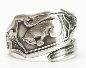 Squirrel Ring, Clover Leaves, Sterling Silver Spoon Ring, Acorn Nut, Boho Ring, Cute Animal Ring, Handmade Gift, Customized Ring Size (3491)