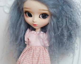 1/3 Size Ocean Blue Tibetan Mohair Wavy Wig for Volks BJD SD and Pullip Dolls
