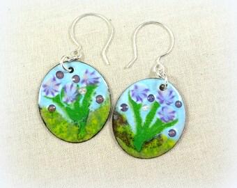Purple Iris Earrings, Enamel Charm Earrings, Artisan Enamel Charms with Sterling Silver Ear Wires, Artisan Floral Charm Earrings