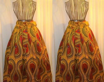 Peacock Tribal Print  A Line Maxi Skirt with Pockets and Attached Sash