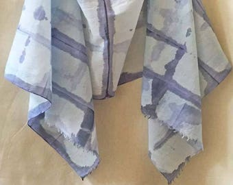 Purple Shibori Scarf, Purple Cotton Scarf, Watercolor Scarf, Hand Painted Scarf, Purple and Blue Scarf, All Cotton, Woman's Scarf, USA