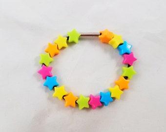 Neon Rainbow Star Bracelet