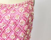 On hold...1960s Pink Beaded Evening Gown