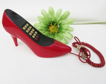 Vintage Telephone | Shoe Phone | Old Phone | Red High Heel | Fashion Art Red Pump - As Is