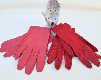 Vintage Leather Gloves | Ladies Gloves | Driving Gloves | Pink Leather Gloves | Red Leather Gloves | Italian Leather Gloves