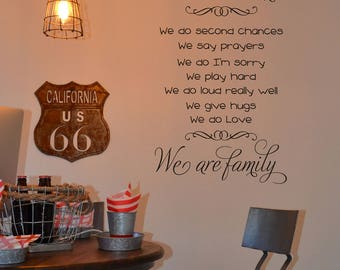 In our home We are family we do second chances we say prayers quote wall decal BC009 vinyl wall lettering sticker decal home decor removable