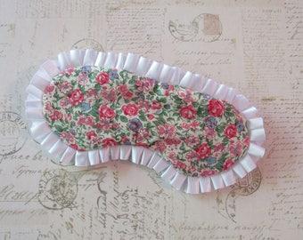 Vintage Floral Sleep Mask in Pink, White // Cotton & Satin Eye Mask