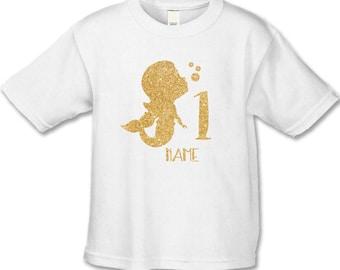 Gold Glitter Mermaid Birthday Shirt - Babies 1st Birthday - Use Any Number - Personalized Boho Mermaid- Gold Glitter  (not messy glitter)