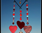 Heart wind chime,  Stained Glass Heart,  Glass chime, Mobile, Sun Catcher,  outdoor decor