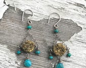 Boho gold druzy and Hubei turquoise Art Nouveau inspired chandelier earrings