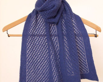 Lace Cashmere Scarf, Hand Knit Lace Scarf, Soft Blue Lace Muffler, Blue Violet Cashmere Muffler, Knitted Lace Wool Scarf, Blue Lace Scarf