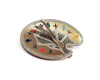 Painted Damascene Vintage Brooch Pin Artist Painter Palette Brushes Gold Tone Mid Century Spain