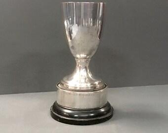 "Antique Silverplate Trophy on Wood Plinth 7"" 1930s"