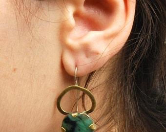 Green Emerald Asymmetric Drop Earrings, Silver Gold Gemstone Earrings, Large Statement Earrings, OOAK Unique Boho Brass Dangle Earrings
