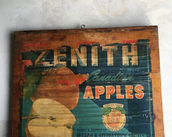 Vintage Wood Apple Sign Zenith Canadian Apples Label Crate End McLean & Fitzpatrick Limited - #