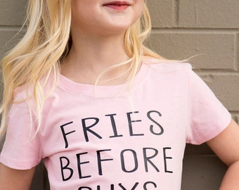 Free Shipping - Fries before guys - little girls shirt