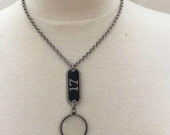 Optical Lens Necklace Vintage Number 17 Tag Necklace vintage assemblage necklace