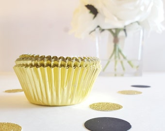 24 Gold Cupcake Papers: Metallic Cupcake Wrappers, Bridal Shower, Bachelorette Party, Standard Cupcake Size, Party Decorations