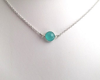 Mint Necklace in Silver. Mint Opal Necklace in Silver. Mint Green. Aqua Necklace in Silver. Aqua Jewelry.Minimalist.Everyday.Blue and Green