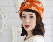 Vintage Orange and Rust Raffia and Tulle Hat with Fabric Flower and Leaves