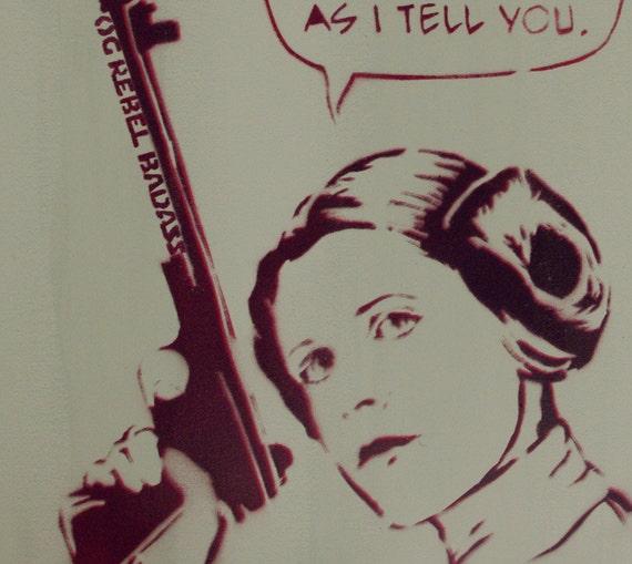 STAR WARS Art Princess Leia 11 x 14 Disney Princess Original Painting Original Rebel Badass With Sass Original Star Wars Artwork