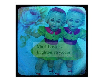 Creepy Cute Vintage Plastic Doll Photography 12 x12 Inch Print, Weird Wall Art, Conjoined Doll, Two Headed, Colorful Wall Decor