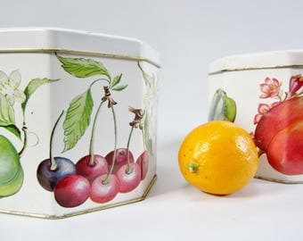 Vintage Storage Tins LOUISE CARLING England Colorful Fruits