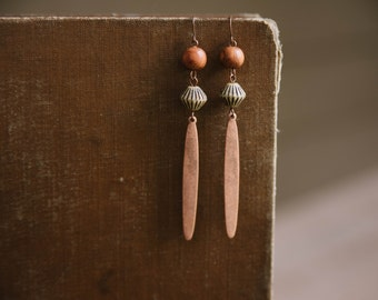 earthy copper drop earrings.