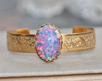 NEW Vintage Pink Fire Opal Cuff,Large Brass Engraved Floral Cuff,Harlequin Glass Fire Opal,Pink Aqua Golden,Unique,Statement,Adjustable,Gift