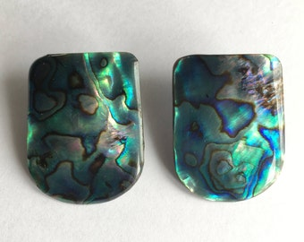 Mother of pearl - vintage shell earrings - abalone blue bruise green perlaceous - boho - chic - retro jewelry - Free shipping Canada USA