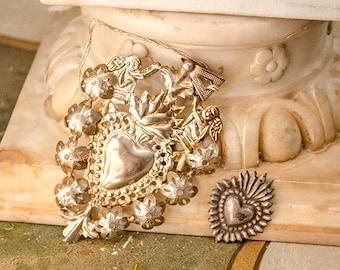 Vintage Pr Ex Voto Sacred Hearts, Silver