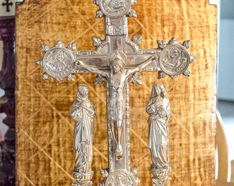 Antique French Altar Crucifix, Saint Medallions, Roses, Virgin Mary, Mary Magdalene, Symbology