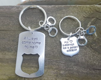 Police Officer Keychain Set Hand Stamped Personalized Just For You