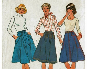 70s Skirts 3 styles Size 12 Uncut 1970s Vintage Sewing Pattern Simplicity 7915 Waist 26 1/2