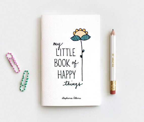 Notebook, Hand Lettered Journal & Pencil Set, Midori Insert - My Little Book of Happy Things, Personalized Floral Notebook Stocking Stuffer