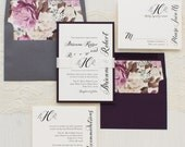 "Calligraphy Script Wedding Invitations, Ivory & Purple Envelope Liner, Script Fonts, Plum, Ivory, Gray - ""Simple Calligraphy"" Sample"