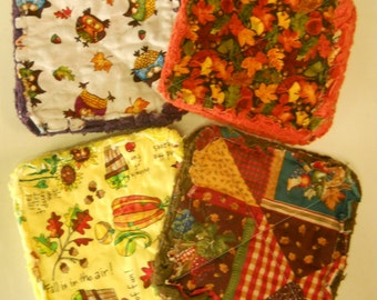 Pair of Rag Quilted Fabric Pot Holders 4 prints to choose from (Group F) Autumn Fall Harvest Prints