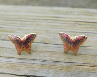 Vintage Cloisonne Butterflies Butterfly Earrings