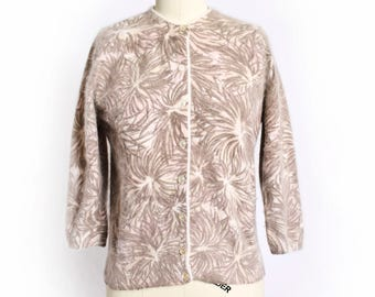 Vintage 1950s Cardigan - Hand Screen Printed French Angora + Wool Fitted Sweater 50s - Small