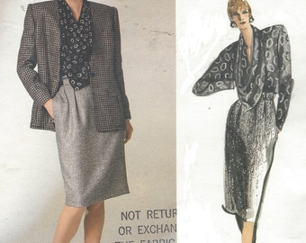 80s Anne Klein Womens Jacket, Skirt & Cowl Neckline Blouse Vogue Sewing Pattern 1755 Size 14 Bust 36 Vintage Vogue American Designer
