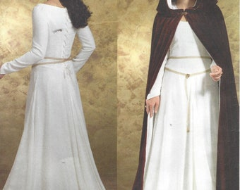 Womens Renaissance Dress and Hooded Cape Juliet Dress Butterick Sewing Pattern B4377 Size 6 8 10 12 Bust 30 1/2 to 34 FF