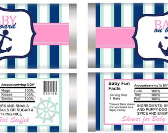 Nautical Baby Girl On Board stripes Candy Bar Wrappers, gender reveal Nautical Shower, welcome Baby Shower favors. Set of 20. Announcement