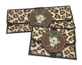 Gift card holder, gift card envelope, cash gift envelope, money envelope, jungle birthday, jungle baby shower, leopard print envelope,