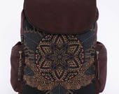 Canvas Laptop Backpack With Uv Reactive Mandala Print, Canvas Backpack, Psychedelic, Festival Backpack, Fitting 13-15-17 inch Laptops
