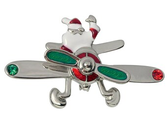 Santa Flying Airplane with Spinning Prop Brooch Pin in Red and Green Silver Tone Costume Jewelry