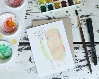 you're my hero, folded greeting card, watercolor catus card