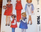McCall's 7636 Little Girls Jumper, Dress, Smock Top with Trim Options, Vintage 1980s Easy Sewing Pattern Size 2 Chest 21 Uncut Factory Folds